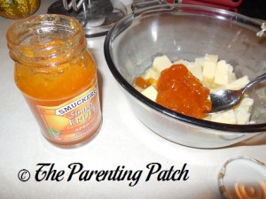 Adding the Apricot Jam to the Melted Butter