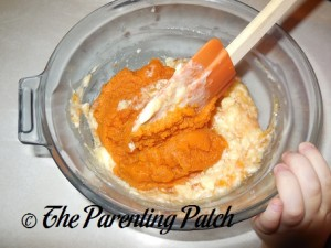 Adding the Pumpkin Puree
