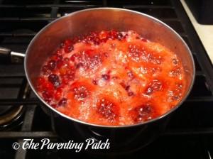 Simmering the Orange Cranberry Sauce
