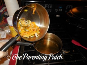 Adding the Boiled Citrus Peels to the Syrup