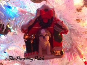 Shih Tzu in Christmas Dog House Ornament