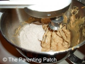 Adding the Dry Ingredients to the Peanut Butter Kiss Cookies Dough
