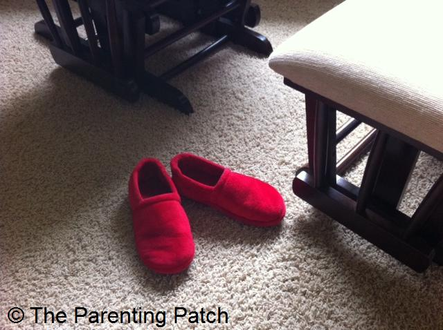 Red Slippers in a Beige Room