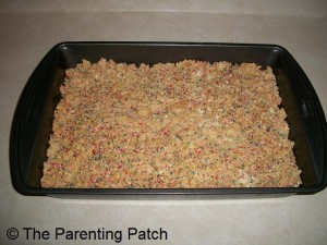 Putting the Rice Krispies Treats in the Pan