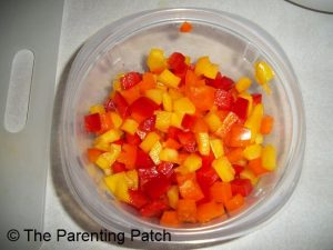 Chopped Red, Yellow, and Orange Peppers