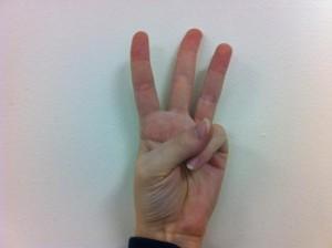 Fingerspelling W