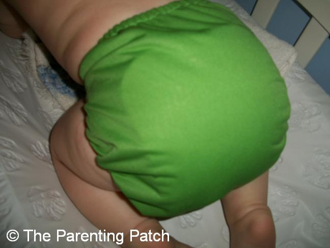 Poppy Wearing Her Ribbit Flip Cloth Diaper