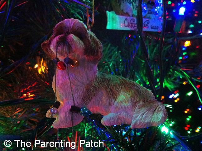 Shih Tzu with Christmas Lights Ornament