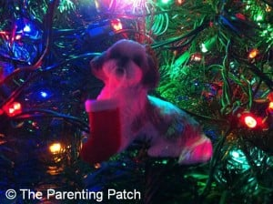 Shih Tzu with Christmas Stocking Ornament