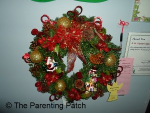 Red, Green, and Gold Christmas Wreath