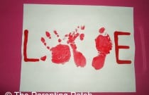 Handprint and Footprint Valentine Card for Toddlers