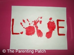 Handprint and Footprint  LOVE Valentine Card 2