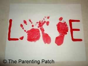 Handprint and Footprint  LOVE Valentine Card 1
