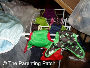 Wet Diaper Shells and Covers on Drying Rack
