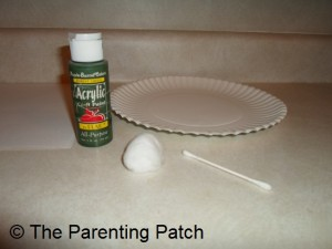 Green Paint, Paper Plate, Cotton Ball, and Cotton Swab