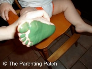 Green Paint on a Toddler's Foot
