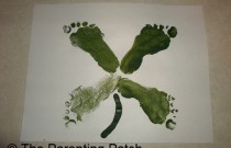 Footprint Four-leaf Clover St. Patrick's Day Toddler Craft