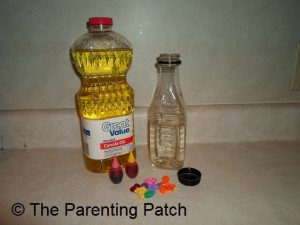 Canola Oil, Food Coloring Water in Plastic Bottle, Plastic Baubles
