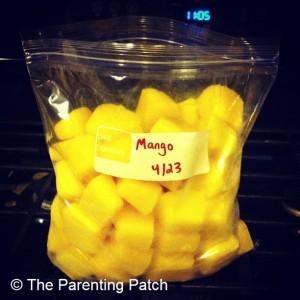 Frozen Mango Baby Food Cubes