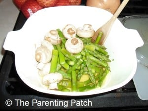 Cooked Mushrooms and Asparagus