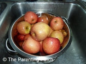 Apples in a Colander in the Sink