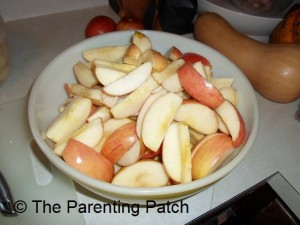 Uncooked Apple Slices in a Bowl