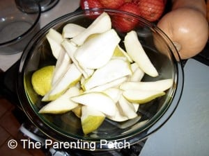 Uncooked Pear Slices in a Bowl