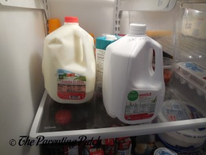Organic Milk in the Refrigerator