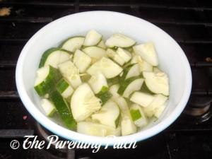 Stirring the Cucumber Salad