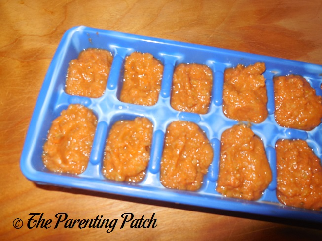 Carrot, Pea, and Cucumber Baby Food Cubes
