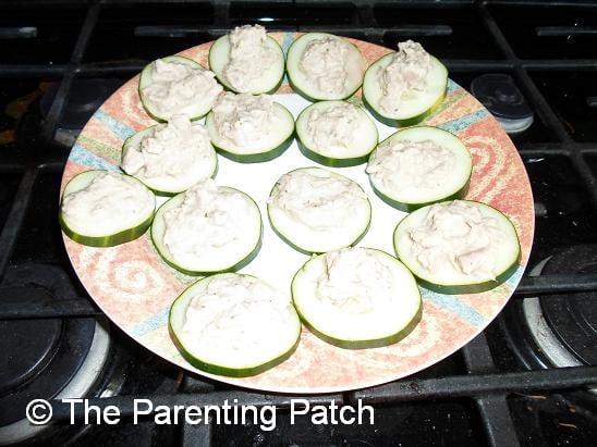 Ranch Tuna Salad on Cucumber Slices