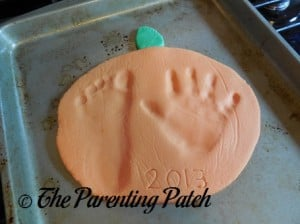 Adding the Date to the Salt Dough Pumpkin