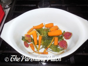 Cooked Beet Greens, Beets, and Carrots