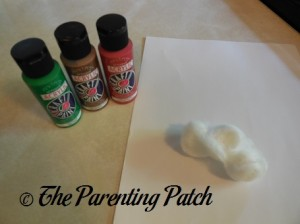 Green, Brown, and Red Paint with Paper and Cotton Balls