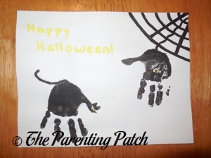 Finished Halloween Spider and Black Cat Handprint Craft