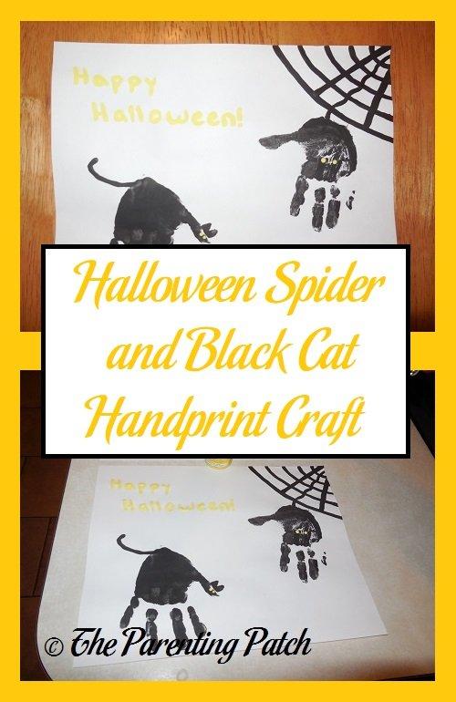 Halloween Spider and Black Cat Handprint Craft