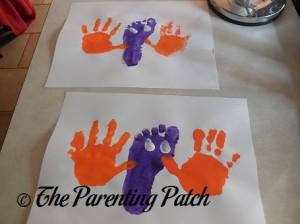 White Thumbprints on Purple Footprint