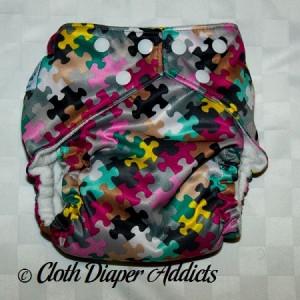 FuzziBunz Pink Puzzle Cloth Diaper 1