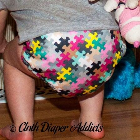 FuzziBunz Pink Puzzle Cloth Diaper 5