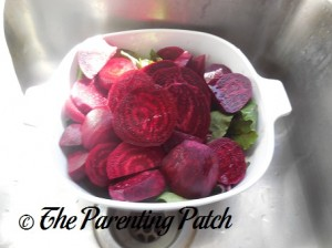 Adding the Sliced Beets to the Beet Greens