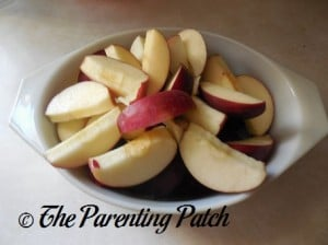 Raw Apple Slices in a Glass Dish