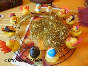 Thanksgiving Ducks on Wire Wreath and Gold Garland