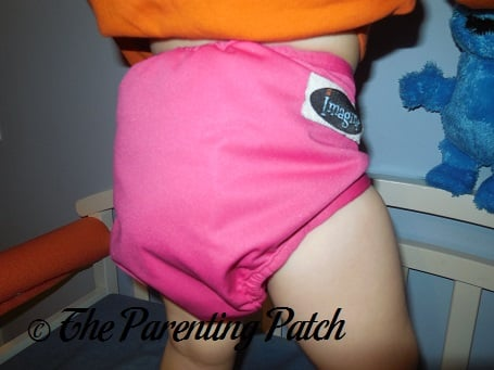 Back of the Raspberry Imagine One Size All-In-Two Cloth Diaper on a Toddler