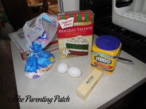 Ingredients for Holiday Velvet Cookies