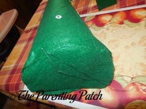 Stitching the Base on the Felt Toddler Christmas Tree
