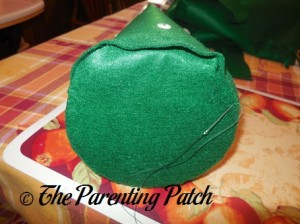 Attaching the Wooden Base to the Felt Toddler Christmas Tree