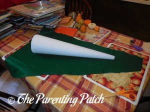 Rolling the Cone in Felt for a Felt Toddler Christmas Tree