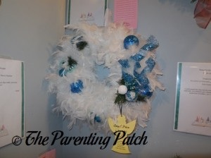 Blue and White Feather Christmas Wreath