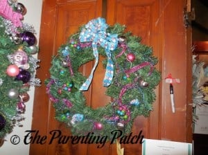 Blue and Pink Ribbon Christmas Wreath