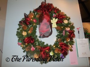 Red and Gold Pine Cone Christmas Wreath